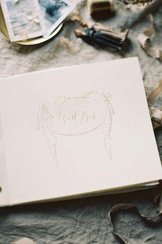 Gold Embossed Guest Book , Handmade Paper - Signora e Mare , Signora e Mare  - 1