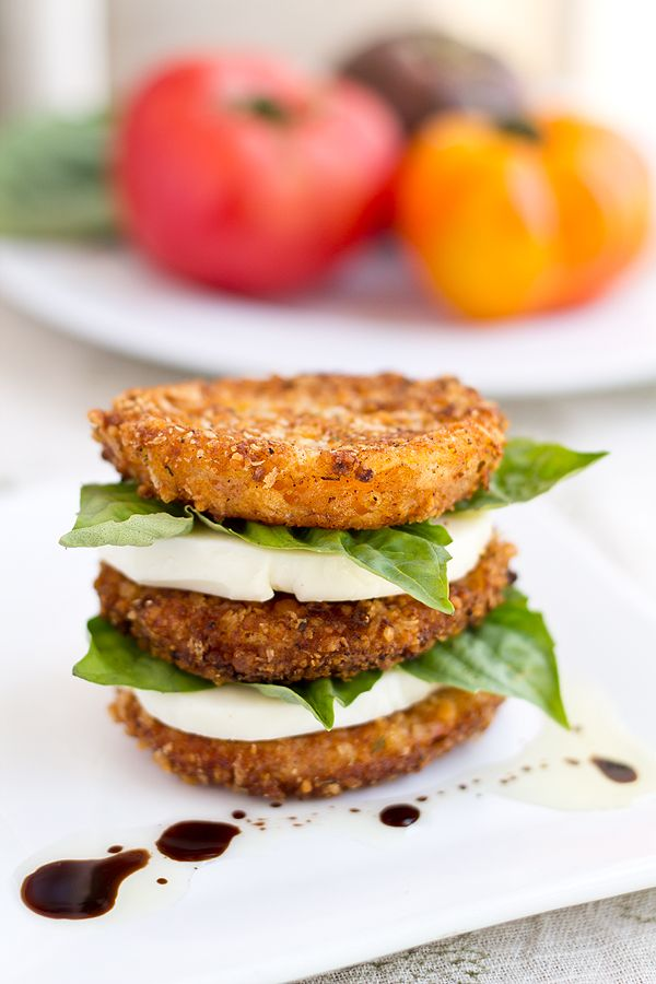 Fried tomato, mozzarella and basil