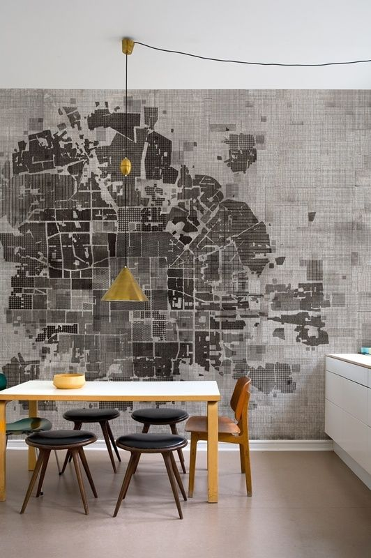city map mural i like the idea of the city map wall paper, the furniture is not quite my taste.