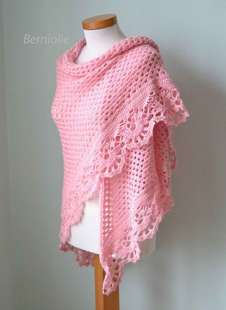 821 Pink crochet shawl by BernioliesDesigns, via Flickr