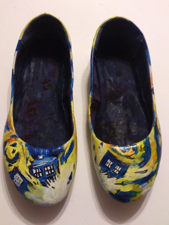 Hand Painted Doctor Who shoes ladies size UK 7 US 9.5. $55.00, via Etsy.  I could paint that...