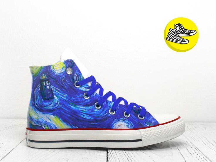TARDIS in Starry Night custom Doctor Who hi top converse shoes painted TARDIS Van Gogh sneakers by CustomizeMeGifts on Etsy