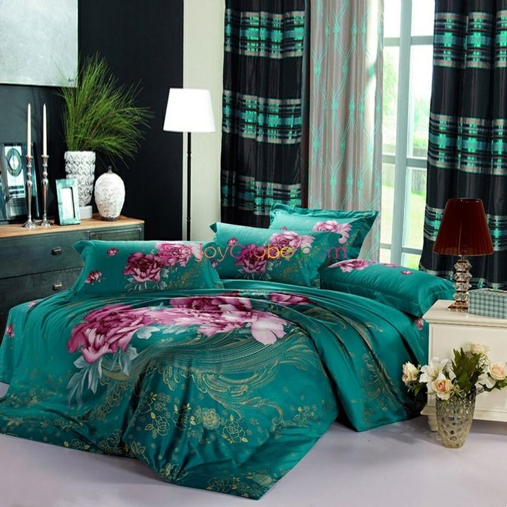Teal Color Queen Size Cute Bedding Sets