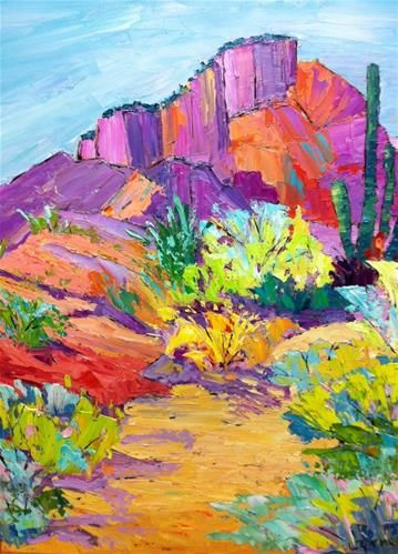 Arizona Desert Color - oil by ©Liz Zornes (via DailyPaintworks)