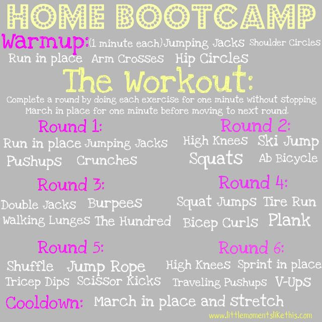 My 40 minute home bootcamp. Warm up for 5 minutes. Then start round 1 and do each exercise for 1 minute. Take a one minute break by marching in place before starting next round. After completing all rounds cool down and stretch for 5 minutes.