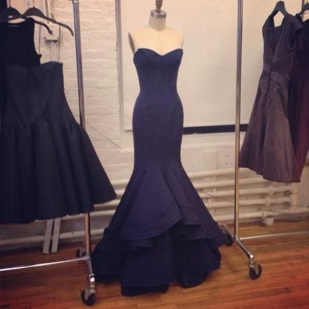 Wholesale Evening Dresses - Buy Empire Sexy Pageant Sweetheart Evening Celebrity Dresses 2014 Mermaid/Trumpet Stain Dark Navy Long Backless Prom Party Gowns, $139.0 | DHgate