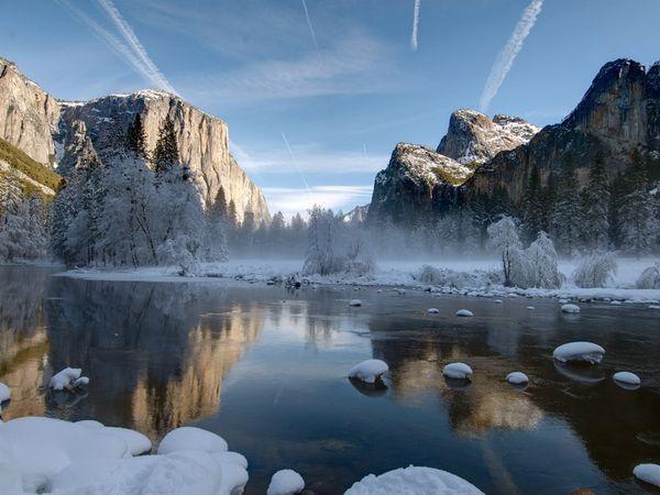 Pastoral Valley, Winter, 3 Brothers, El Capitan, Merced River in Yosemite