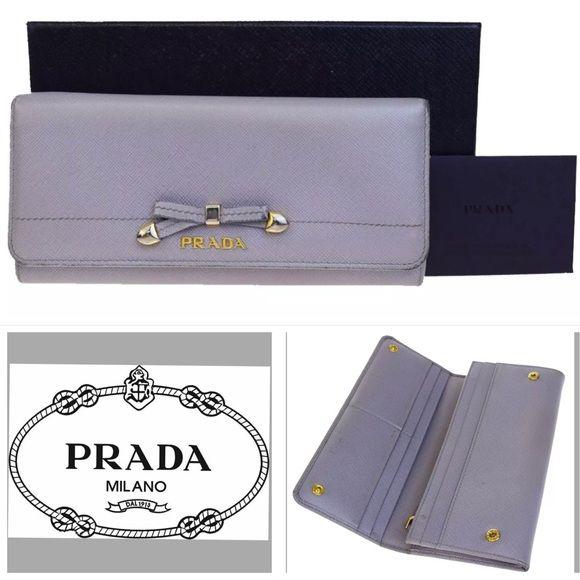 1262358e 👜 PRADA Bow Logos Bifold Long Wallet Leather Gray Prada Ribbon Long ...
