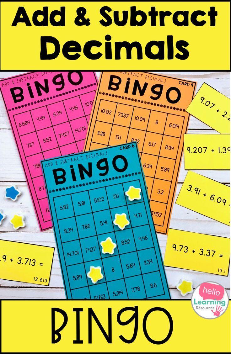 Adding And Subtracting Decimals Bingo Game Subtracting Decimals Decimals Adding And Subtracting Adding and subtracting fraction bingo