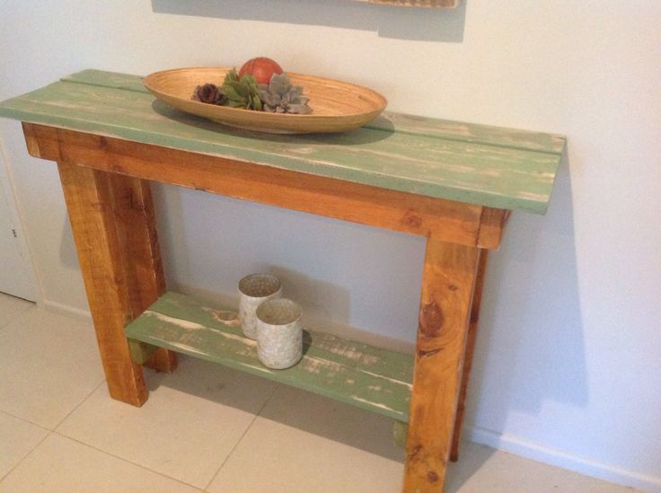 Rustic pallet wood console table. Stained, distressed and painted.