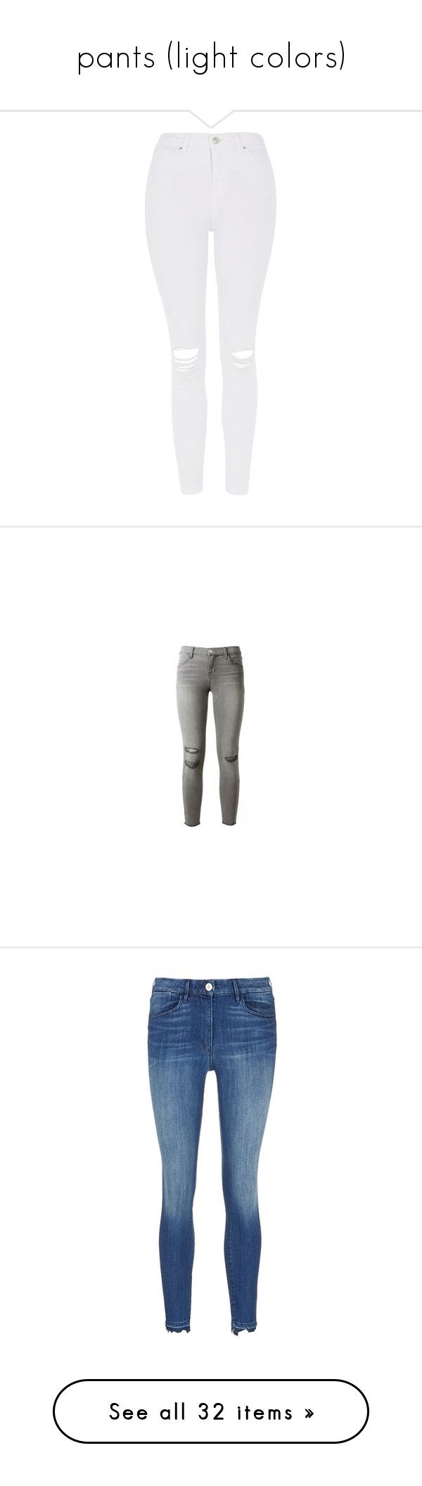 """""""pants (light colors)"""" by gemmabsw ❤ liked on Polyvore featuring jeans, pants, bottoms, topshop, high waisted jeans, white distressed jeans, high-waisted jeans, high waisted ripped jeans, white high waisted jeans and pantalones"""