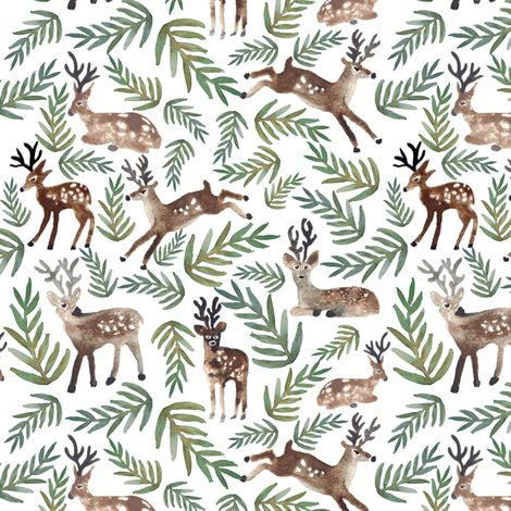 """Loved Dearly"" rustic watercolor deer print fabric pattern design by shelbyallison on Spoonflower - custom fabric #antlers"