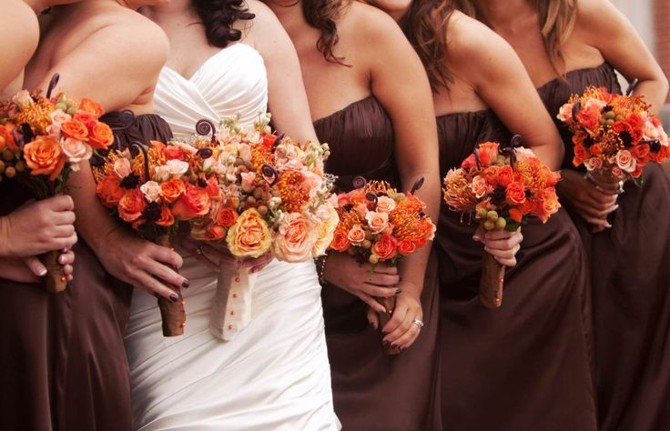 Brown braidmaid dresses, brown wedding