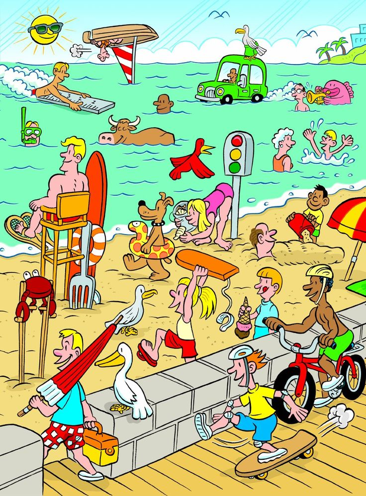 Beach Scene to describe in language with activities