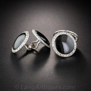 French Art Deco Onyx and Diamond Cufflinks