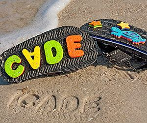 This is so much fun! Kids would adore these flip flops at the beach. Just put on a double layer of foam letters backward for great summer activities for kids.