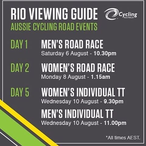Rio Cycling Guide AEST #rio2016 #cycling #cyclingaustralia