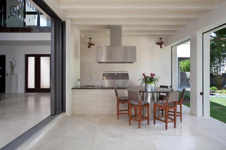 Simple, modern outdoor kitchen.