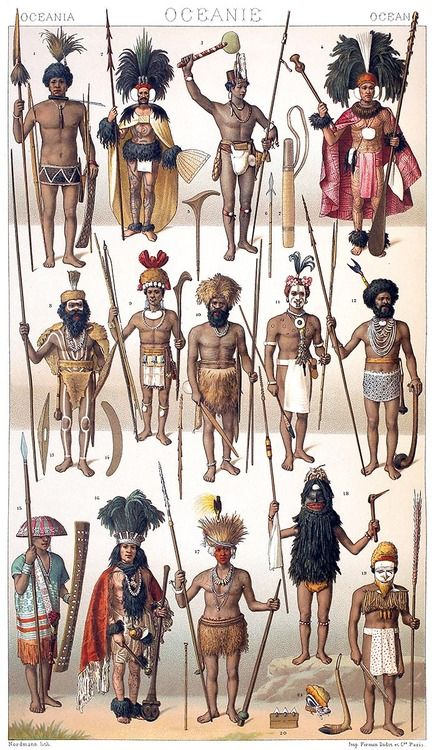 Oceanian people with their weapons: Papuan, Alfuru, Australian, Nuku hiva…    Auguste racinet, from Le costume historique (The costume history) vol. 2, under the direction of A. Racinet, Paris, six volumes published between 1877 and 1886.