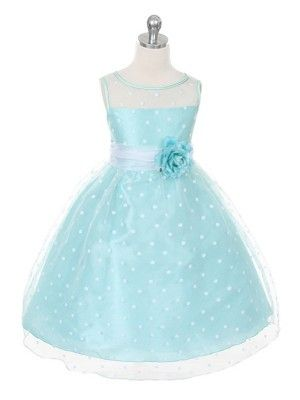 Mint/White Lovely Polka Dots Flower Girl Dress (size:Infants to 12 in 5 colors) - Flower Girl Dresses - GIRLS