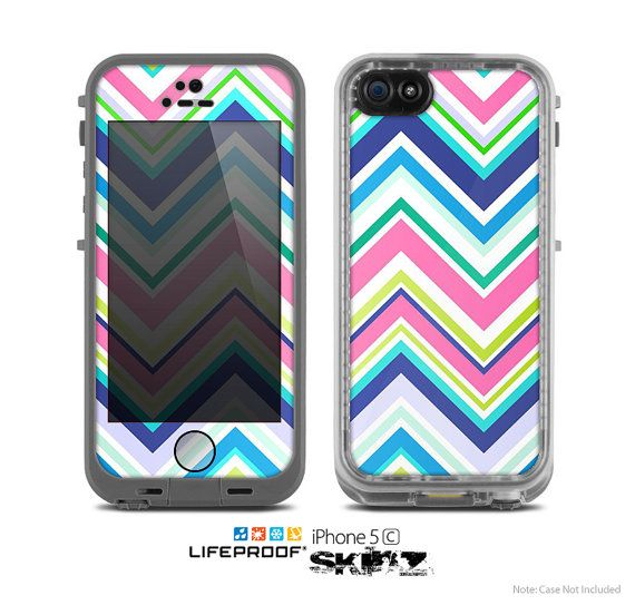 The Vibrant Colored Chevron Pattern V3 Skin for the Apple iPhone 5c LifeProof Case on Etsy, $9.99