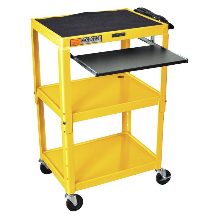 Turing Adjustable Height Computer Cart Yellow - AVJ42KB-YW