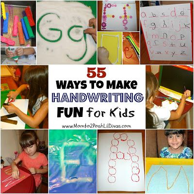 55 Ways to Make Handwriting FUN for kids without using a pencil and paper!