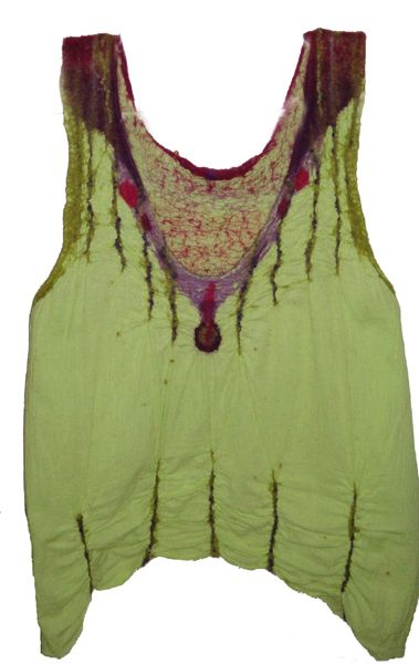 Jan Osher Cotton nuno-felted with wool roving and wool yarn - front