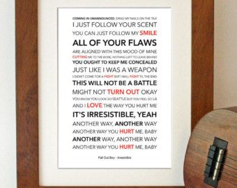 Fall Out Boy - Irresistable - Lyrical Song Art Poster - A4 Size