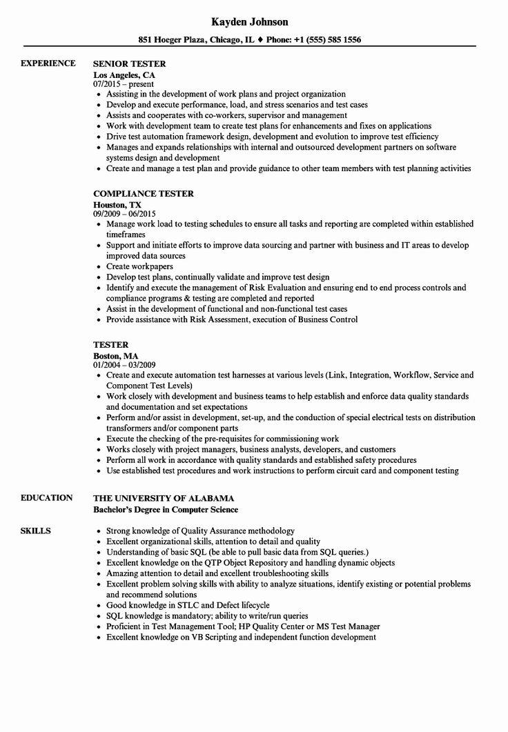 Entry level qa tester resume awesome tester resume samples