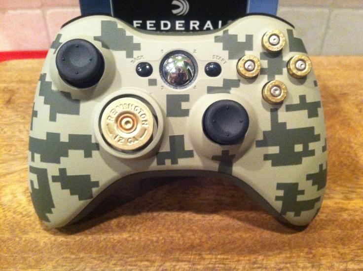 Buddy's wedding present!!  Xbox digital camo controller 9mm bullet button 12 guage shotgun shell dpad  Flat Dark Earth FDE Army Green black ops call of duty.