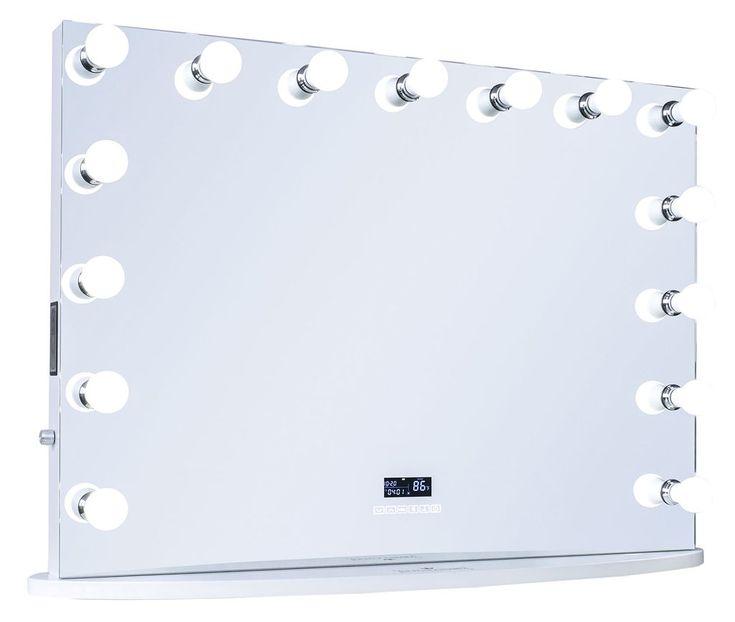 "15-LED Bulbs Diamond Cut RockStar Hollywood Vanity Mirror with Bluetooth Speakers, 44""W x 33""H"