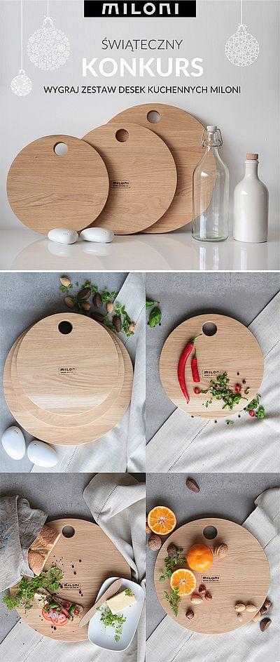 Nagroda główna w bożonarodzeniowym konkursie MILONI na stół w aranżacji świątecznej - Zestaw desek kuchennych (35cm, 30cm, 25cm) z limitowanej edycji MILONI.