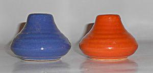 Bauer Pottery Ring Ware Cobalt/orange Salt/pepper Set