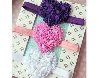 Conjunto bebé niña gran corazón diadema con púrpura, rosa y blanco - bebé ducha Set de regalo con corazones de flores