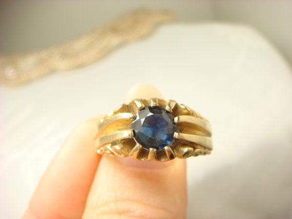 Art Deco Men S Sapphire 14k Gold Engagement By