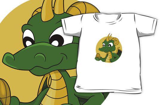 Cute green dragon cartoon by Radka Kavalcova