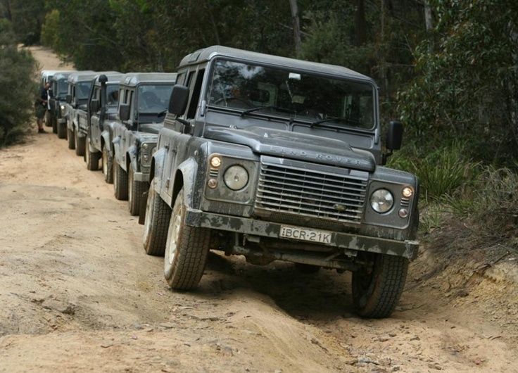 Land Rover Defender lined up