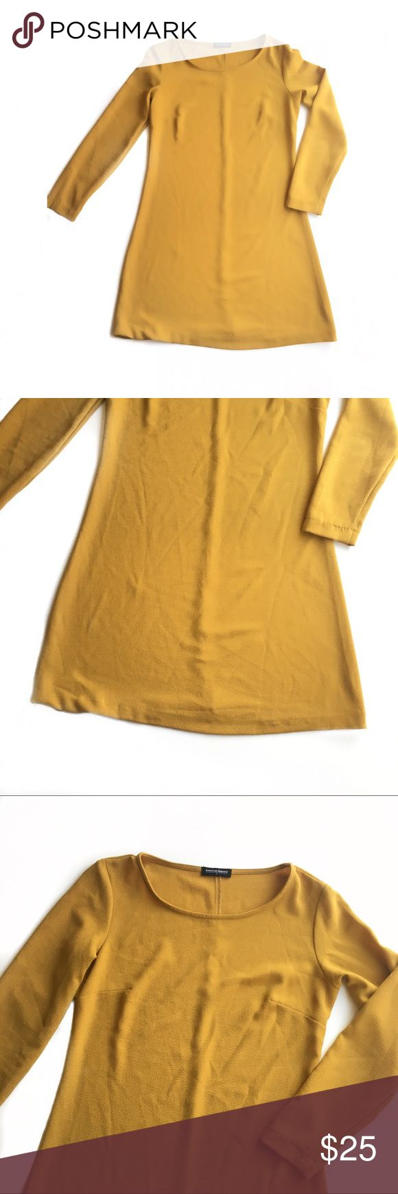 AMERICAN APPAREL Mustard Yellow Long Sleeve Dress American Apparel mustard yellow dress   Dress is free of stains or holes Size small  Bundle two or more items in my closet for a low price offer! American Apparel Dresses Mini