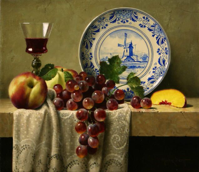 """God of bread and wine, hear the prayers we offer this day, gather us at your table, and inspire us to honor you and one another through Jesus Christ our Lord .. Amen.  (Mark Pettit. """"Delft Plate with Fruit"""")"""