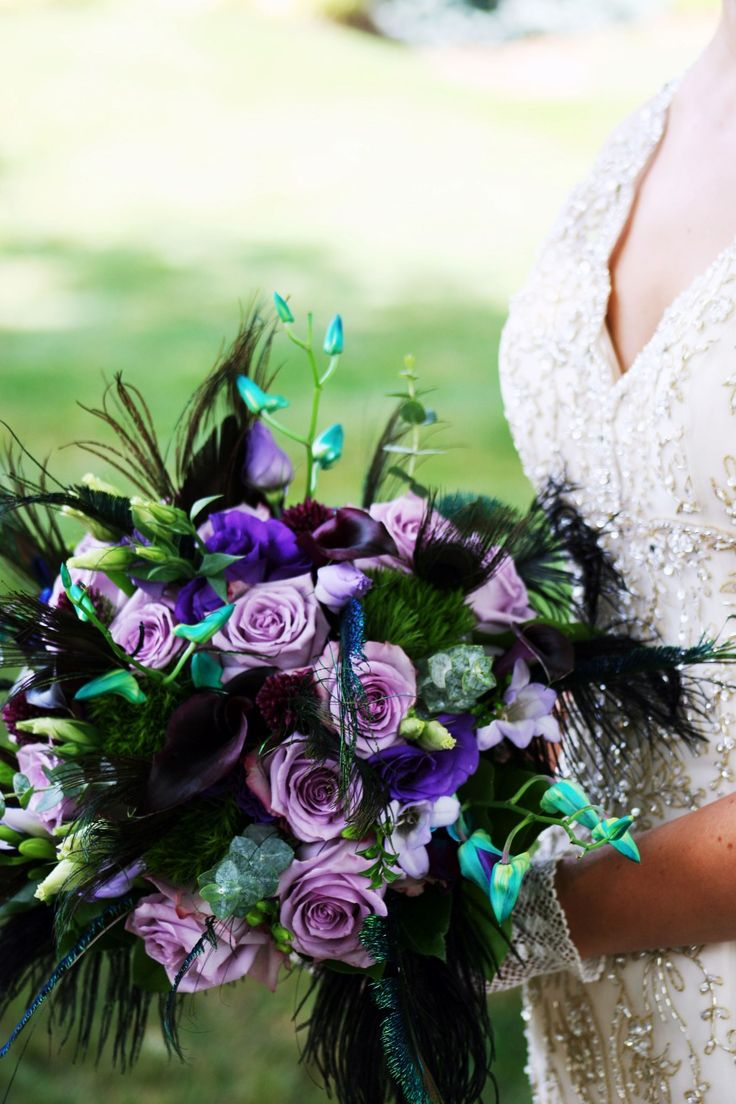 Bridal Bouquet, Peacock Feathers, Ostrich Feathers, blue purple and green