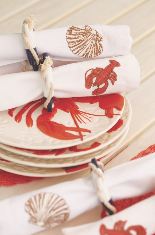 Whether you're minutes or miles from the seashore, set a beach-inspired tabletop with Cost Plus World Market's Coral Lobster & Crab Plates and coordinating serveware.