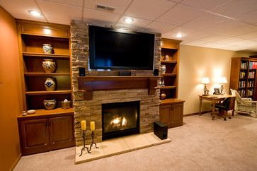 Tv Over Fireplace Design Ideas, Pictures, Remodel, and Decor - page 21 Like the simplicity of the bookshelves!!