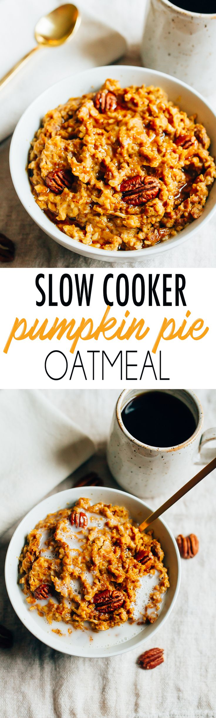Have pumpkin pie for breakfast with this healthy slow cooker pumpkin pie oatmeal recipe featuring steel-cut oats cooked overnight with pumpkin puree and spices.
