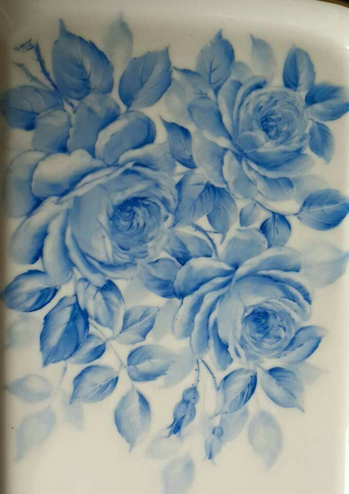 One fire  monochrome roses painted by Esin Alptuna. http:// www.esinalptuna.com