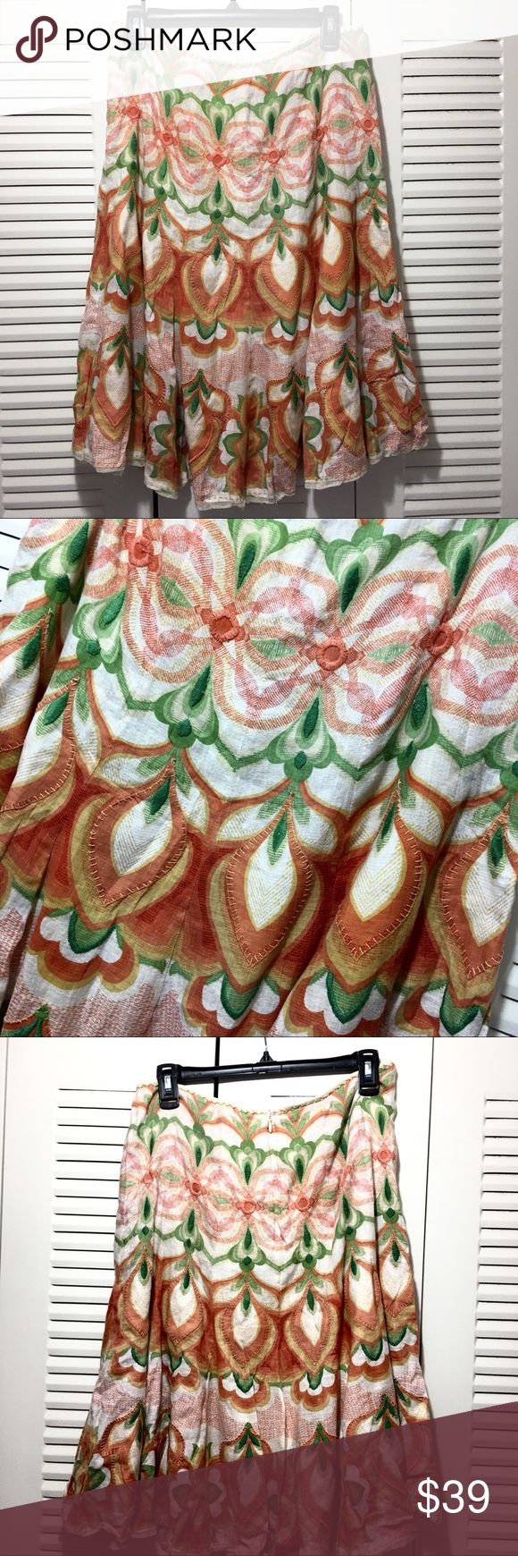 "Elie Tahari Boho Floral Linen Skirt Colorful lined linen skirt, peach, green, cream 3D floral embroidered pattern. No size tag. Waist 15.25"" length 25"" Elie Tahari Skirts A-Line or Full"