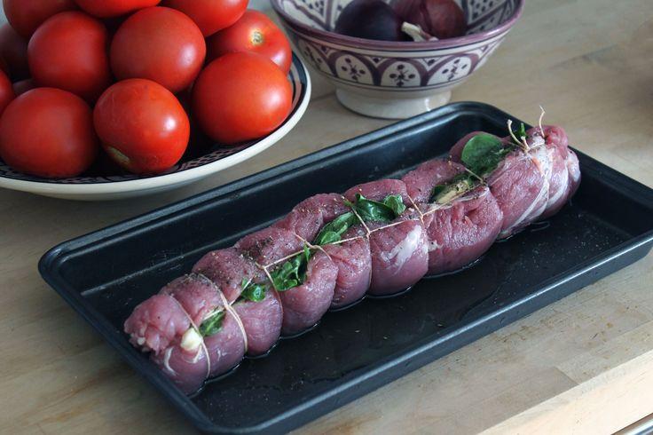 Mozzarella stuffed pork fillet