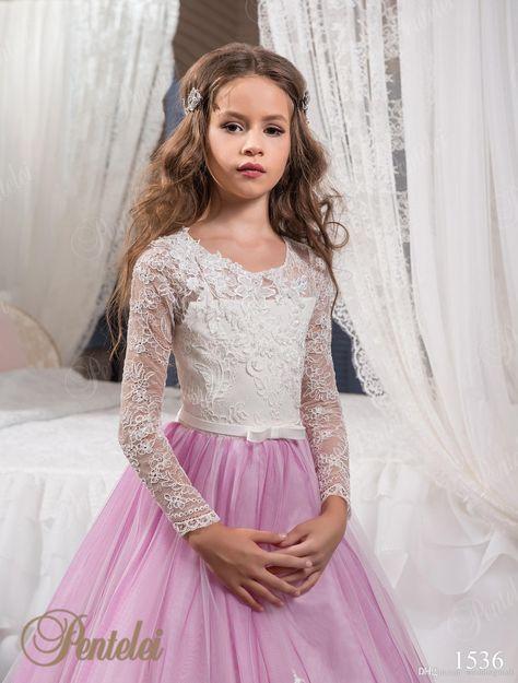 Vintage Princesa Floral Lace árabe 2017 Flower Girl vestidos de manga larga Tulle Niño Vestidos hermosa flor chica vestidos de novia F0678