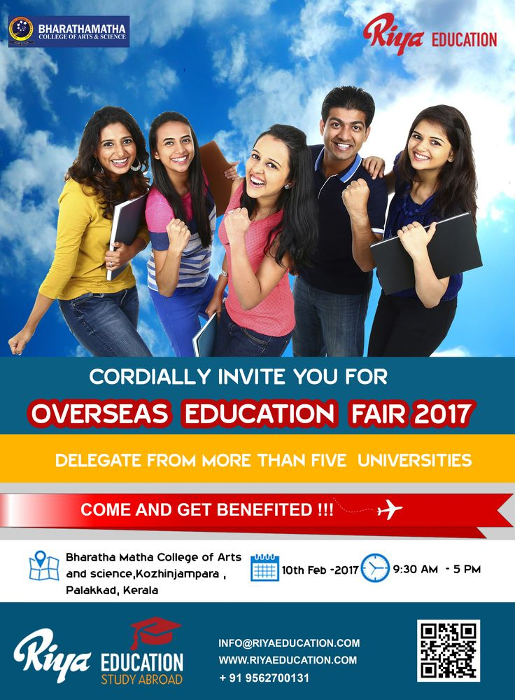 Overseas Education Fair 2017 !!!  Delegates from more than 5 universities will be attending. We cordially invites you to attend the fair and get benefited.   Visit our website http://www.riyaeducation.com/contact/