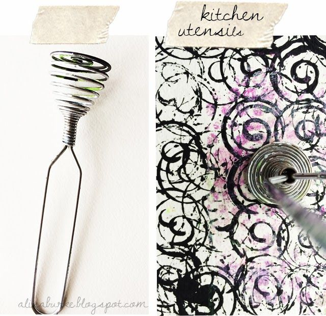 alisaburke: my favorite everyday things- for painting Kitchen utensils make some of the best stamps and mark making tools. From wisks to forks and knives to rolling pins and cookie cutters- our kitchen drawers are one of my favorite places to go shopping for supplies!